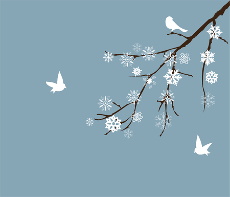 bare tree: vector snow branch with birds Illustration