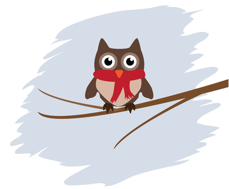 vector card with funny owl in a scarf