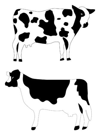 벡터 젖소 농장 동물 일러스트