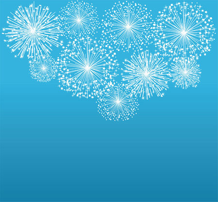 white background: vector white fireworks on blue background