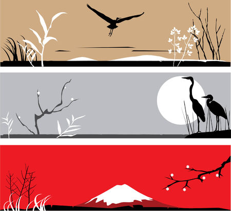 vector asian banners with herons, trees, mountain Vector