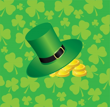 vector hat with golden coins on shamrock background