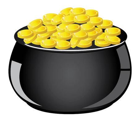 vector pot with gold coins Illusztráció