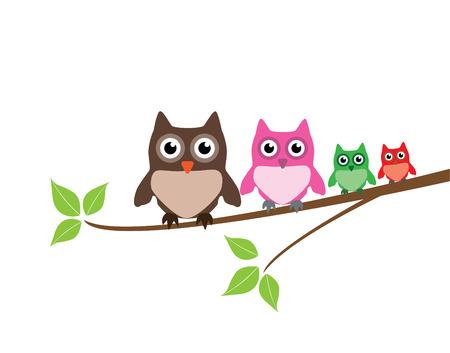 owl family: vector cute owl family Illustration