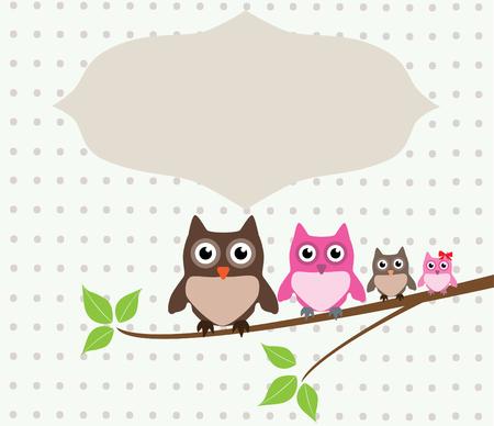 vector cute owl family Illustration