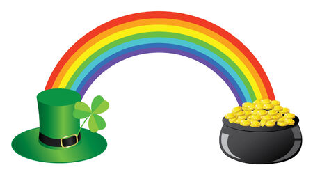 vector rainbow with hat , clover, pot with gold Illustration