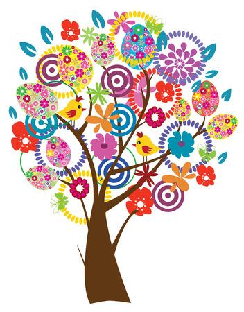 easter tree: vector boom van Pasen met eieren, vogels, bloemen