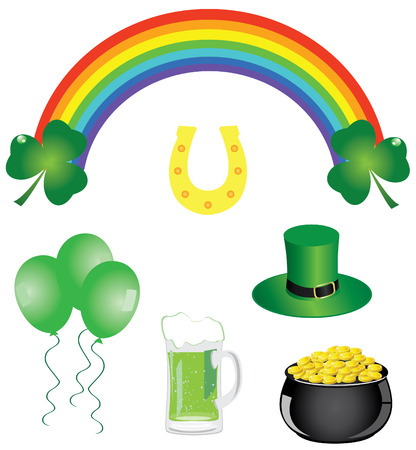 pot of gold: vector st  Patrick icons and symbols