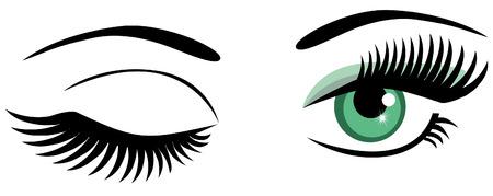 vector green eyes winking Illustration