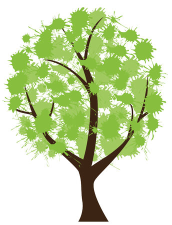 ink stain: vector tree with ink spots Illustration