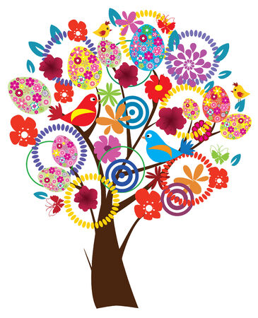 vector Easter tree with eggs, birds, flowers Vector