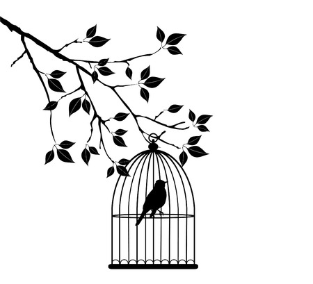 tree isolated: vector tree branch with bird in cage