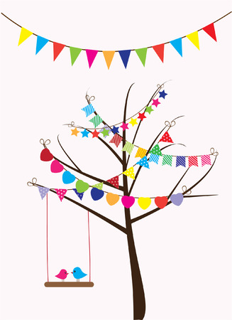 vector tree with bunting abd bird swinging Vector