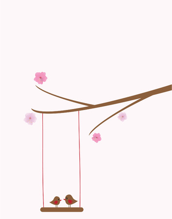 vector cherry branch with birds swinging Ilustracja