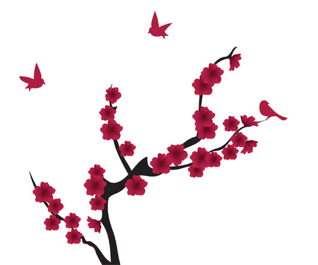 vector blossom with red birds Illustration