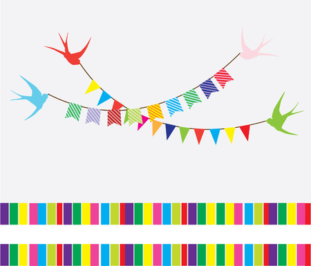 vector bunting with swallows and text space Illustration