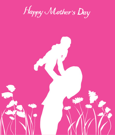vector mother s day card with happy mom and child Çizim