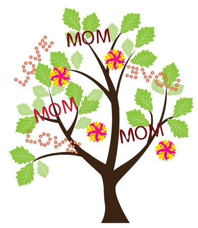 happy people: vector mother s day tree