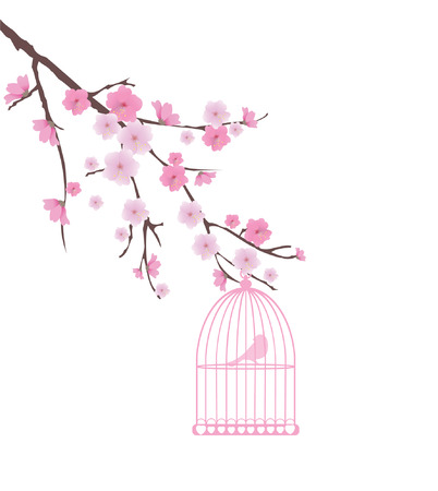 vector cherry blossom with bird in a cage Illustration