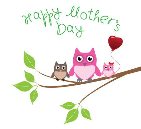 フクロウとベクトル母の日カード  イラスト・ベクター素材