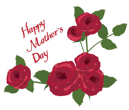 notecard: vector mother s day card with roses Illustration