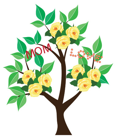 notecard: vector mother s day tree