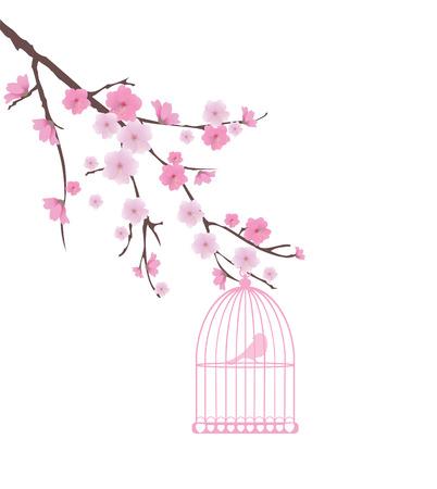 Cage vecteur d'oiseau et de fleurs de cerisier Banque d'images - 26820989