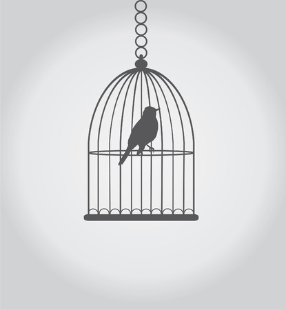 vector bird silhouette in the cage