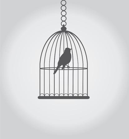 Vektor-Silhouette Vogel im Käfig Standard-Bild - 27460193