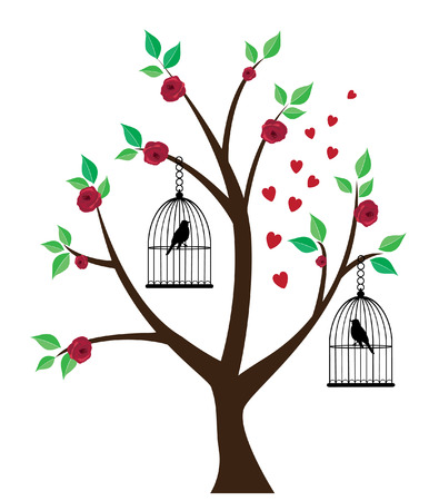 tree drawing: vector birds in cages in the tree with roses