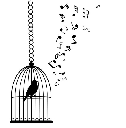 vector bird in a cage and musical notes Çizim