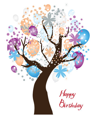 vector birthday tree with balloons, confetti, flowers Illustration
