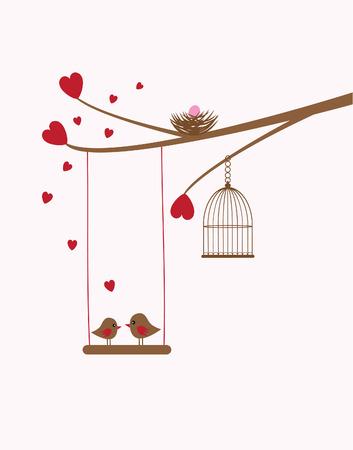 tree branch with bird nest, hearts, birds, swing Illustration
