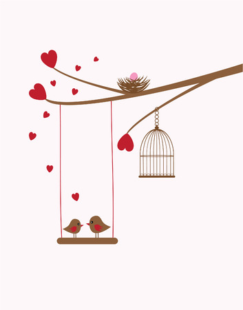 tree branch with bird nest, hearts, birds, swing Illustration
