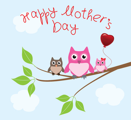 mother s day card with owls Vector