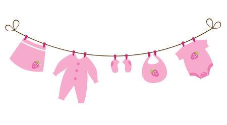 newborn baby girl clothes with strawberries 版權商用圖片 - 29008598