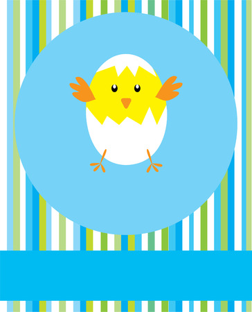 baby shower card with chicken Vector