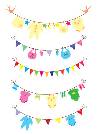 newborn baby clothes with bunting Vector