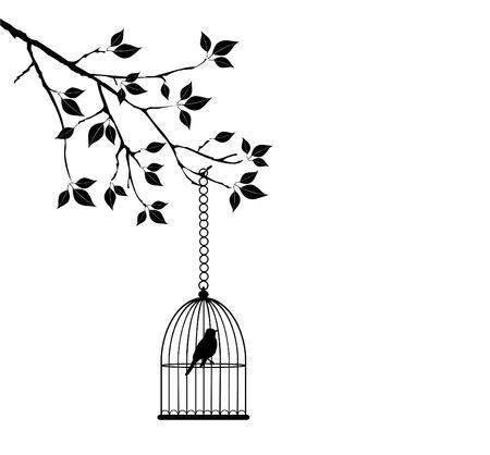 vector tree with bird cage Vector