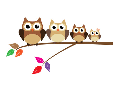 cute owl family sitting in the tree branch Vector