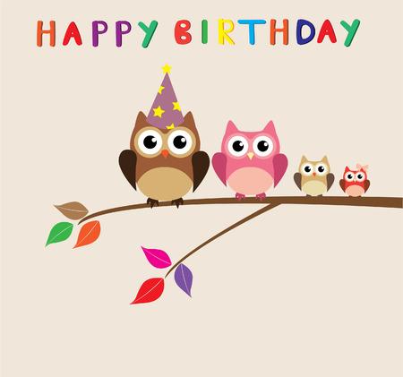 owl family: birthday card with owl family