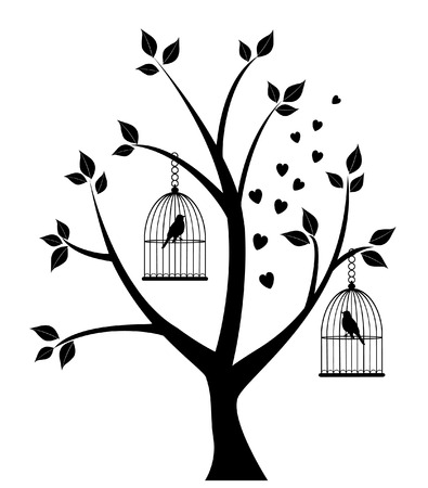 tree with bird cages, hearts, leaves Vector