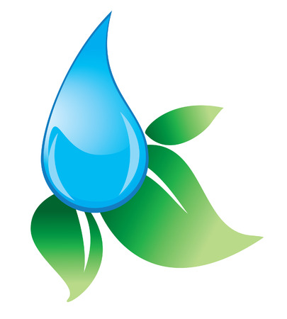 water drip: water drop with green leaves Illustration