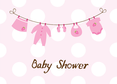 clothes hanging: vector baby girl newborn clothes with strawberries