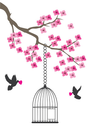 vector dove silhouettes with pink hearts and open cage in the cherry blossom branch