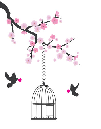 branch: vector cherry blossom branch with bird cage open and doves holding hearts