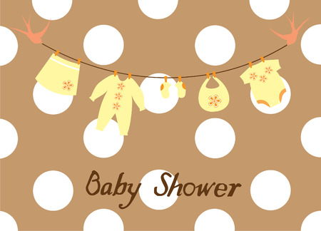 vector baby shower card with bunting and clothes