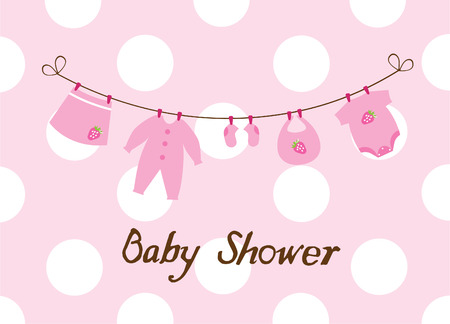 hanging clothes: vector baby shower card with clothes and bunting