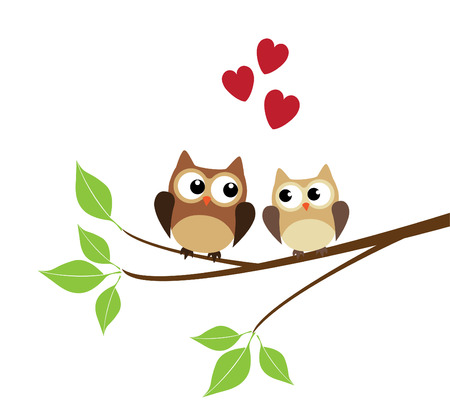 vector owls sitting in the tree branch with red hearts Ilustracja