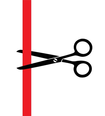 haircutting: vector illustration of scissors cutting a red ribbon